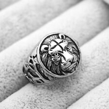 3D Lion Rings Gothic Punk Ring Titanium Steel Engraved Ring Rock Size 7-13
