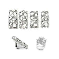 Silver Rhinestone Full Finger Joint Ring Armor Design Hollow Out Knuckle Rings