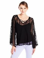 Angie Juniors Swiss Dot Sheer Lace Top W/ Front Tie Neck - Choose SZ/Color