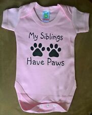 My Siblings have Paws Bodysuits and Bibs - 3 colours and 2 sizes 0-3 & 3-6 mths