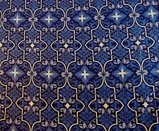 Navy Blue White Star Floral Design Cotton Fabric Almost 1/3 Yard Or 7/8 Yard