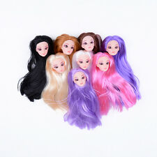 Quality Doll Head with Colorized straight Hair DIY Accessories For Barbie Pop`