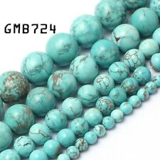 Natural Stone Beads Blue Turquoise Round Beads for Jewelry Making 4/6/8/10/12mm