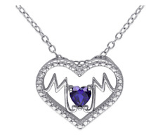 "Sterling Silver ""Mom"" Heart 18-Inch Chain Pendant Necklace"