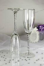 Swarovski Crystal Personalized Silver Wedding Champagne Toasting Glasses Flutes