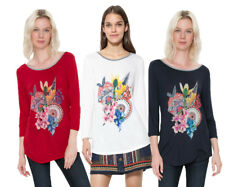 Desigual Simba Long-sleeved T-shirt Top XS-XXL UK 8-18 RRP �34 White Red Blue