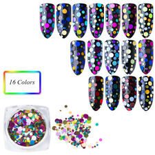 16 Colors Nail Art Round Mixed Colorful Glitter Paillette Nail Art Tips Sticker