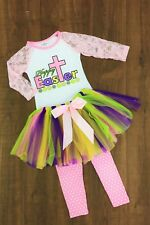 Girl's Kids Boutique Clothing Easter 3Pc Lace Top+Leggings Tutu Skirt Outfit Set