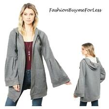 BOHO Gray Cotton Knit Hooded Oversize Open Bell Sleeve Sweater Cardigan S M L XL