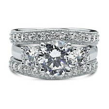BERRICLE 925 Silver Cubic Zirconia CZ 3-Stone Engagement Ring Set 4.05 Carat