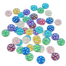 50 Pcs 12 mm Round Resin Flower Scale Cabochon Flatback for Jewelry Making