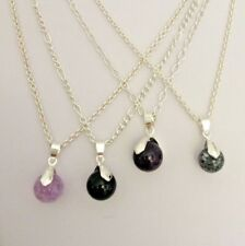 Semi Precious Bead Pendant Necklaces with Silver Plated Copper Chains