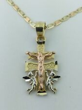 14K Solid Gold 3 Tone Caravaca Cross with Valentino necklace Cruz de Caravaca