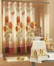 Sunflower Bathroom Collection Shower Curtain Hooks Towels Soap Holder Rug Tooth