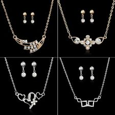 Crystal Rhinestone Necklace Dangle Earrings Wedding Bridal Prom Jewellery Set