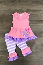 Girls Kids Boutique Clothing Easter Top Tunic + Leggings Capri Pants Outfit Set