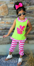 Girl's Boutique Summer Clothes Bunny Top Tunic+Leggings Capri Pants Outfit Set