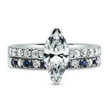 Silver Marquise Cubic Zirconia CZ Solitaire Engagement Ring Set 2.28 CT