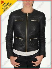 HOT Women's Genuine Lambskin Real Leather Quilted Slim fit Biker Jacket WN043