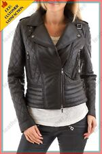 HOT Women's Genuine Lambskin Real Leather Quilted  Slim fit Biker Jacket WN015