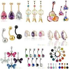 Belly Bar Crystal Dangle Reverse Body Piercing Jewellery Rings Navel Bars Grand