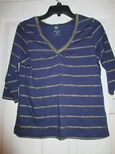 Petite Size PS or PM V Neck Striped Navy/Gold Top 3/4 Sleeve NEW By Palm Harbour