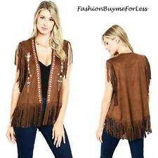 BOHO Hippie 70'S TX Western Cowgirl Brown Haute Faux Suede Fringed Vest S M L