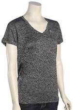 Under Armour Tech V-Neck Women's T-Shirt - Black / Metallic Silver - New