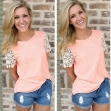 Women Fashion Summer Lace Short Sleeve Blouse Casual Tank Tops T-Shirt