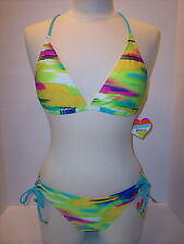 NWT Raisins Size XL Banded Halter Bra + Side Tie Bikini Brief Swimsuit Tye-Dyed