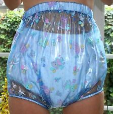 PVC adult baby Incontinence Diaper Rubber Trousers Blue Transparent Kid