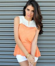New Mango Orange white pleated yolk peplum sleeveless blouse Shirt S M L ~