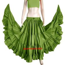 OLIVE GREEN Cotton Gypsy 4 Tiered 12 Yard Skirt Tribal Belly Dance Flamenco