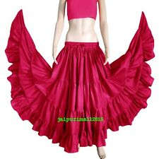 VIOLET RED Cotton Gypsy 4 Tiered 12 Yard Skirt Tribal Belly Dance Flamenco Jupe