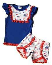 Girl's Fourth of July Patriotic Outfit T-Shirt Top and Short Pants Clothing Set