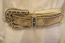 "2"" Wide BHW Blue Cross WESTERN Cowgirl BRINDLE Hair-on hide BELT w/ Crystals"