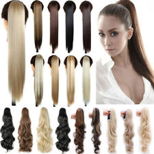 Real Thick Clip In Hair Extensions Long Curly Straight Natural Claw Ponytail P5E