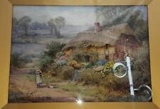 Henry John Sylvester Stannard Watercolor of Thatched Cottage & Child