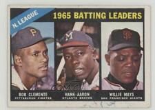 1966 Topps #215 NL Batting Leaders (Bob Clemente Hank Aaron Willie Mays) Roberto