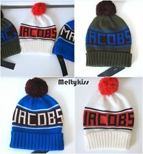 NWT AUTH MARC BY MARC JACOBS BLUE/OFF WHITE/GREEN LOGO POMPOM HAT BEANIE O/S $68