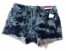 Mossimo Womens Distressed High Rise Cut Off Tie Dye Denim Shorts Blue
