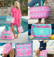 PERSONALIZED MONOGRAMMED BEACHY KEEN ROUND BEACH TOWEL COOLER TOTE BASEBALL CAP+