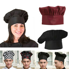 Black Chef Hat Adult Elastic Catering Baker Kitchen Adjustable Chef Cap FastShip
