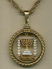 "Israel Half Lirah Silver & 24k Gold Plated 18""/24"" (cut Menorah) Coin Necklace#2"