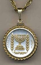 "Israel Half Lirah Silver & 24 k Gold Plated 18"" or 24"" ""Menorah"" Coin Necklace"
