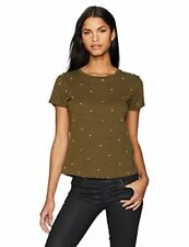 Lucky Brand Women's All Over Embroidered Tee, Dark Olive