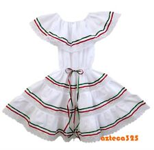 Girls Mexican 3 Ribbons Dress - Green, White, Red