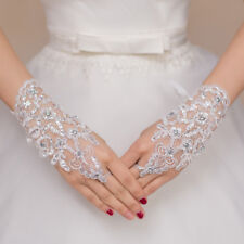 White Bride Gloves Beads Short Fingerless Bridal Lace Wedding Gloves Embroidery