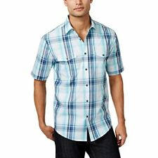 Alfani Mens Plaid Short Sleeves Button-Down Shirt, Sea Coast