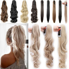 Long Layered Ponytail Clip in as Remy Human Hair Extensions Claw On Hair Piece P